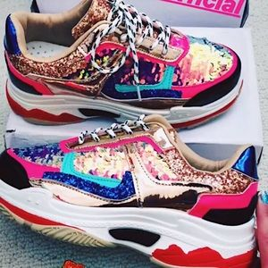 Chunky Holographic Sequin Festival Sneakers